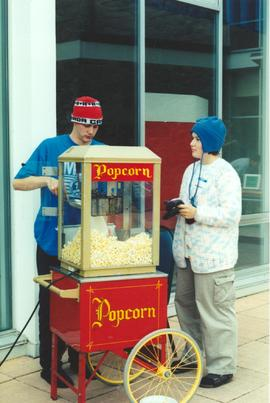 Students at the popcorn machine