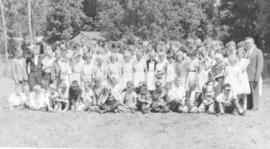 Children & counselors at Camp Assiniboia (Cartier, Manitoba)