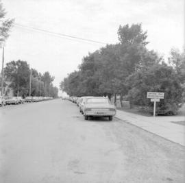 Street adjacent to the Winkler MB Church showing cars parked