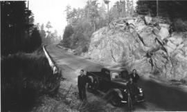 Clayton Burkholder and others on a mountain road