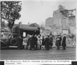 """Mennonite Mobile Canteen in action, Birmingham."""