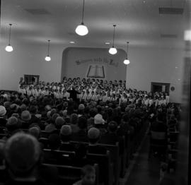 Massed children's choir singing at St. Jacobs Mennonite Church, 1965