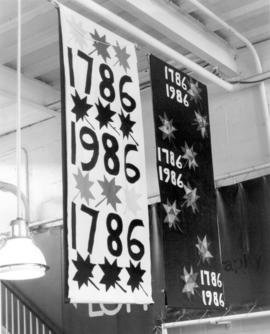 Display of banners made by various congregations