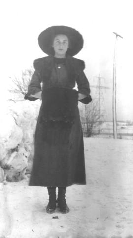 Laura Eby and her new coat, December 16, 1911.