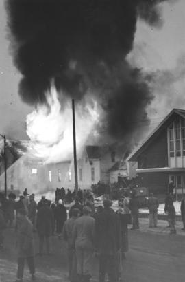 Fire destroying the Steinbach Evangelical Mennonite Church (Steinbach, Manitoba)