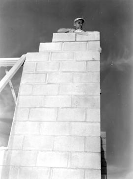 Amos Brubacher working during the construction of Glen Allen Mennonite Church