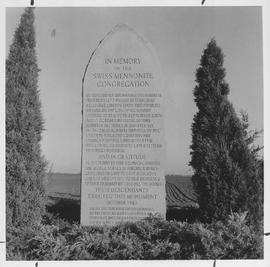 Monument erected by 62 families of a Swiss Mennonite congregation in Kansas
