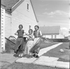 Hutterite girls at the Blumengard Colony