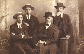 Group portrait of four young Russian Mennonite men