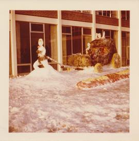 A snow sculpture outside the residence of Conrad