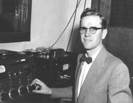 A. Kliewer with recording equipment at Tabor College