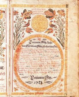 Fraktur art on a page of the Benjamin Eby Bible,