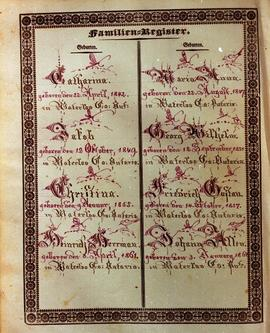 Family Register page of the Benjamin Eby Bible,