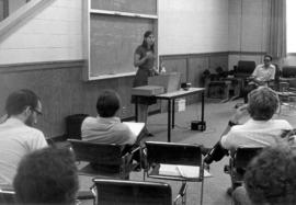 Gayle Gerber Koontz giving a lecture