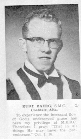 . Graduation picture of Rudy Baerg