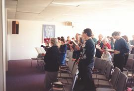 Congregants of Petitcodiac Mennonite Church singing