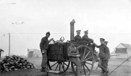 118th Battalion men with kitchen wagon