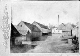 A back view of the farm-machine factory belonging to the photographer's father, Gerhard Rempel
