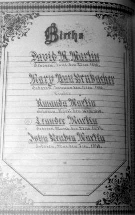 Family register of Martin family at Brubacher