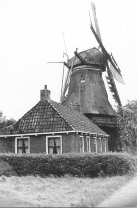 Traditional Dutch windmill, located on path leading to Menno Simons Monument near Witmarsum