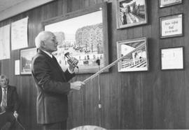 Artist Henry Pauls giving a talk on his paintings