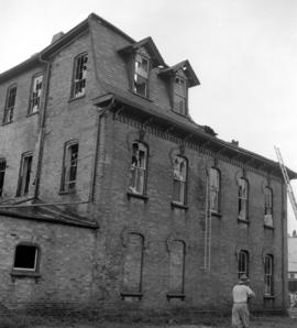 A  building in New Hamburg, Ontario after a fire.