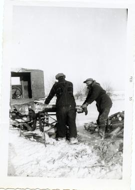 Cutting firewood at Matheson Island