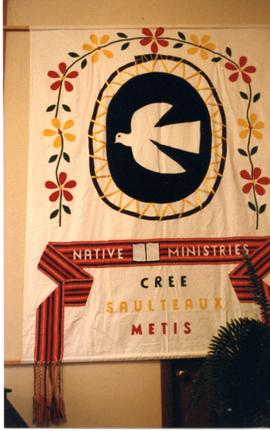 Native Ministries banner at Riverton assembly