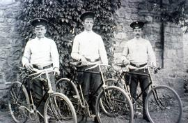 Three Forestry service men in Russia with bicycles