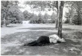 Peter napping under a tree, during trip to Alberta 1949