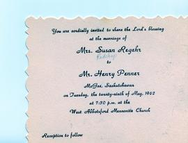 1962 wedding invitation
