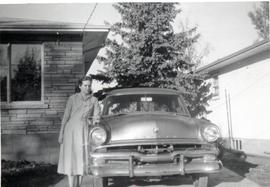 Edith with a car, 1957