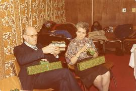 Alfred and Edith opening presents, 1979