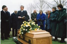 Minister saying some words over Mary's grave, 1998