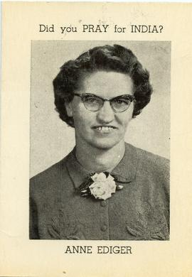 Anne Ediger worked in India for Mennonite Brethren Board of Forei