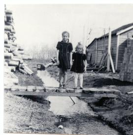 Two girls standing on a small bridge