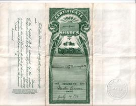 Dominion City Creamery one share certificate (back)