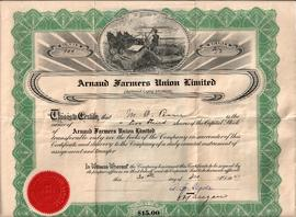 Arnaud Farmers Union share certificate (front)