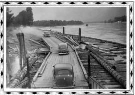 Car driving on wooden road, 1949