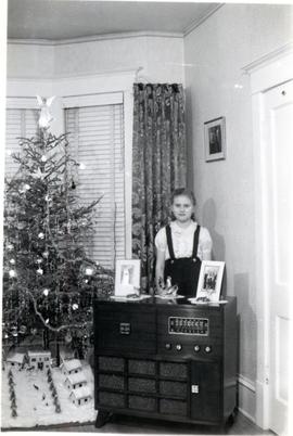 Heidi at Christmas at 46 Cobourg Ave, 1950