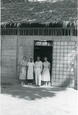 Helena Reimer with [Wilhelmine Vischer], [Miss Pok Koam], and [Mr. Chun Hai], Cambodia