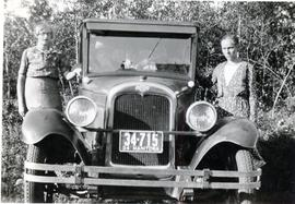 Annie Koop (Peter's cousin ) and Mary Koop with the car