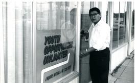 Billy Moore outside Y.O.U. office