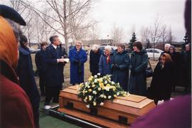 The Minister saying some words over Mary's grave, 1998