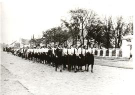 Volksdeutsche young womens' group parading
