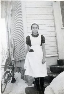 Edith outside in winter, 1948