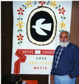 Martin Cross with N.M. banner