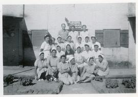 Helena Reimer and UNRRA staff in camp Tolumbat, Egypt.