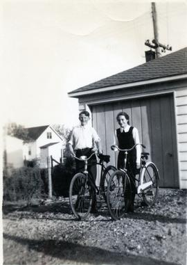 Edith & a boy with bikes in 1949