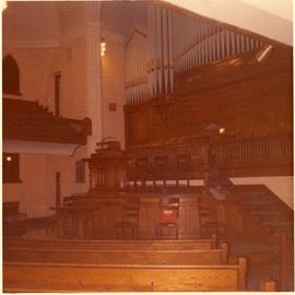 Pulpit, Pews and Pipe Organ of the St. Giles United Church on Burrows in Winnipeg